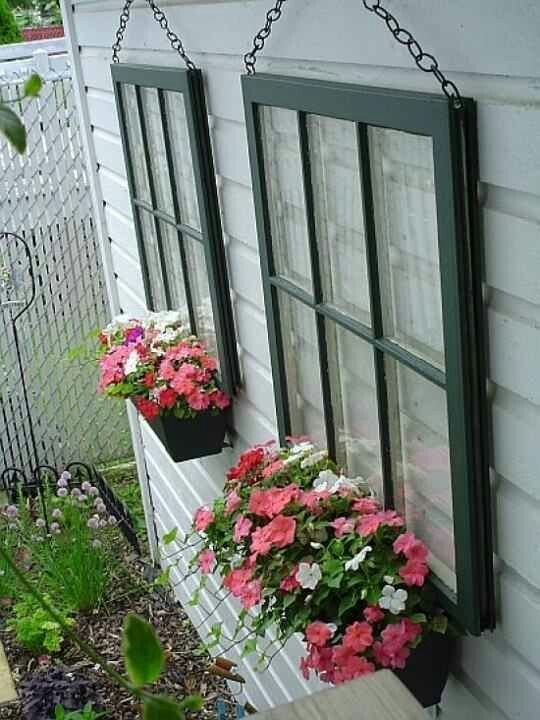 20-Fabulous-Ways-to-Repurpose-Old-Windows-Repurposed-window-frames-as-planter-boxes