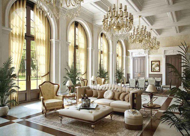 Cool-luxury-Interior-design-in-living-room-featuring-soft-sofa-coffee-table-chandeliers-interior-plant-and-dining-set-633x454