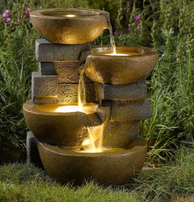 cool-indoor-garden-with-fountain-of-tier-pots-water-fountain-with-led-lights-for-garden-633x658