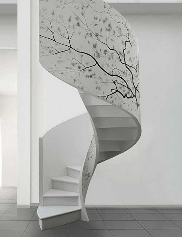 Artwork-enlivens-the-white-spiral-staircase-634x824